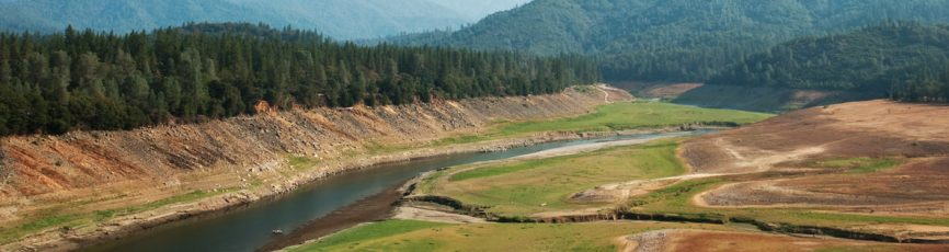 Shasta Lake showing the effects of drought
